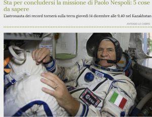 Iss, Soyuz con Nespoli torna sulla terra